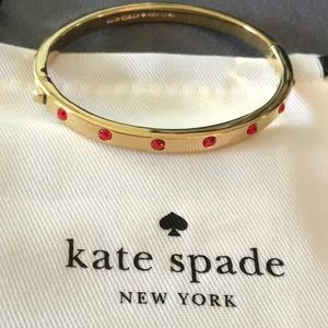 Kate Spade Set In Stone Red&Gold Hinged Bracelet